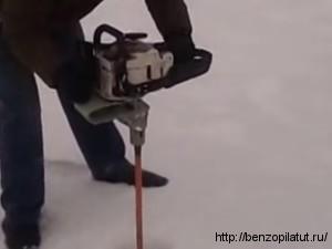Ледобур из бензопилы штиль своими руками 25
